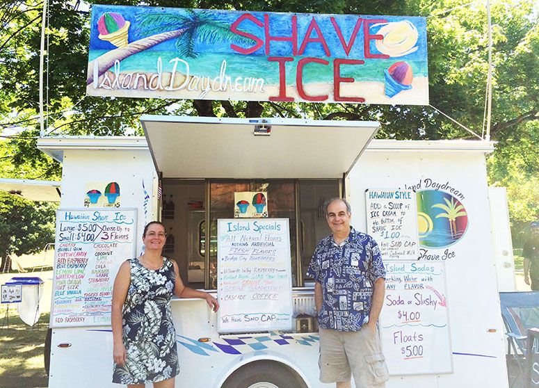 Cheryl C and John Alland at shave ice cart