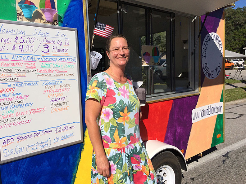 Cheryl in front of Shave Ice Cart