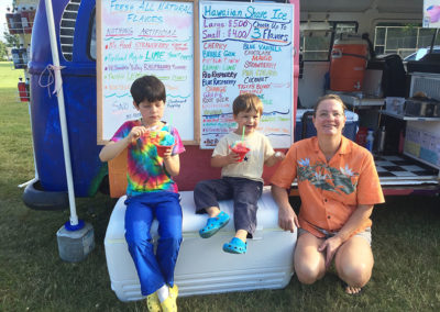 cheryl and boys shave ice