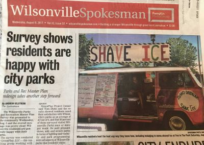 newspaper with island daydream shave ice truck photographed